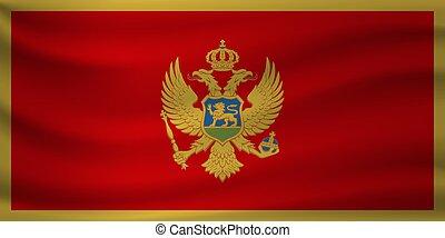 Waving flag of Montenegro. Vector illustration