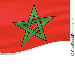 Waving flag of Morocco isolated on white