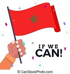 Waving flag of Morocco