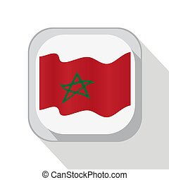Waving flag of Morocco on the button. Vector illustration.