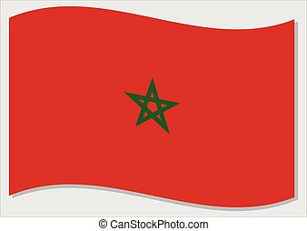 Waving flag of Morocco vector graphic. Waving Moroccan flag illustration. Morocco country flag wavin in the wind is a symbol of freedom and independence.