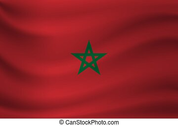 Waving flag of Morocco. Vector illustration