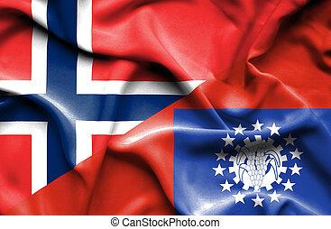 Waving flag of Myanmar and Norway