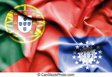 Waving flag of Myanmar and Portugal