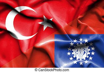 Waving flag of Myanmar and Turkey
