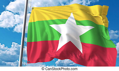 Waving flag of Myanmar on sky background. 3D rendering