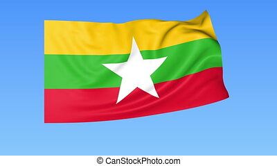 Waving flag of Myanmar, seamless loop. Exact size, blue background. Part of all countries set. 4K ProRes with alpha