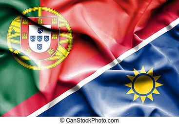Waving flag of Namibia and Portugal - Waving flag of Namibia...