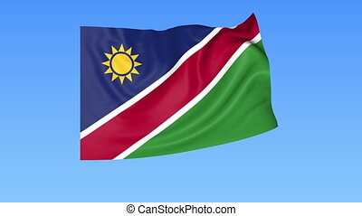 Waving flag of Namibia, seamless loop. Exact size, blue...