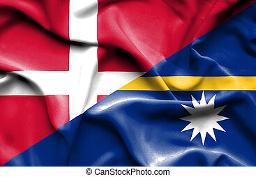 Waving flag of Nauru and Denmark