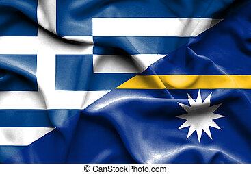 Waving flag of Nauru and Greece