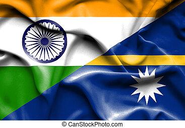 Waving flag of Nauru and India