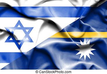 Waving flag of Nauru and Israel