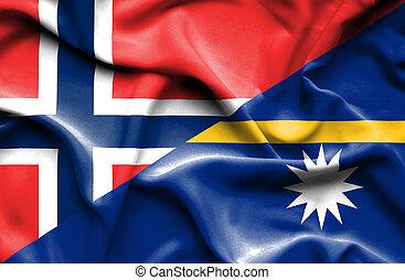 Waving flag of Nauru and Norway