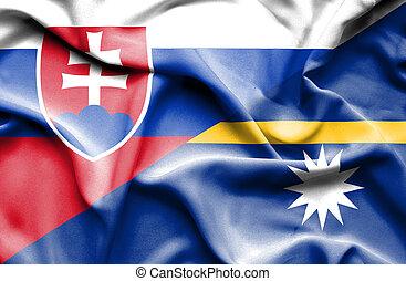 Waving flag of Nauru and Slovak
