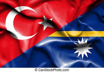 Waving flag of Nauru and Turkey