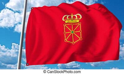 Waving flag of Navarre an autonomous community in Spain -...