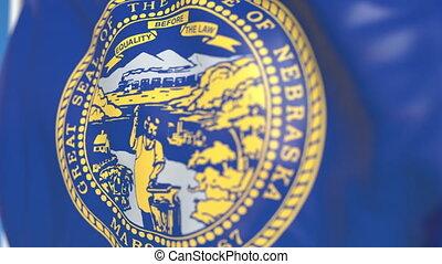 Waving flag of Nebraska. Close-up, loopable 3D animation -...