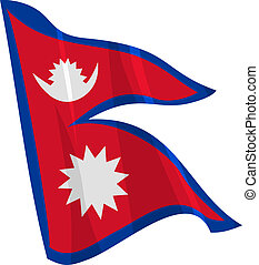 waving flag of Nepal
