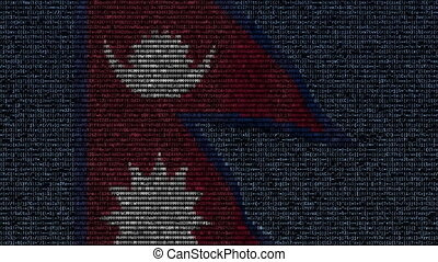 Waving flag of Nepal made of text symbols on a computer screen. Conceptual loopable animation