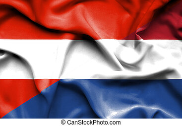Waving flag of Netherlands and Austria