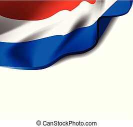 Waving flag of Netherlands close-up with shadow on white background. Flag of Holland. Vector illustration with copy space