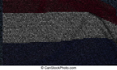 Waving flag of Netherlands made of text symbols on a computer screen. Conceptual loopable animation