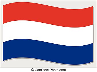 Waving flag of Netherlands vector graphic. Waving Dutch flag illustration. Netherlands country flag wavin in the wind is a symbol of freedom and independence.