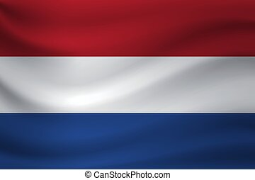 Waving flag of Netherlands. Vector illustration