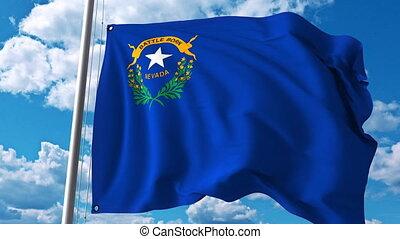 Waving flag of Nevada. 4K clip
