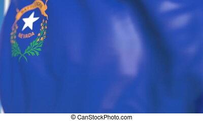 Waving flag of Nevada. Close-up, loopable 3D animation -...