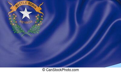 Waving flag of Nevada state against blue sky. Seamless loop 4K clip