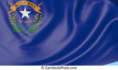 Waving flag of Nevada state against blue sky. Seamless loop 4K clip