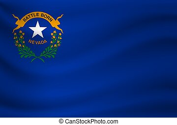 Waving flag of Nevada. Vector illustration