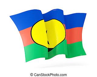Waving flag of new caledonia. 3D illustration