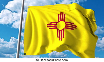 Waving flag of New Mexico. 4K clip