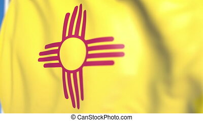 Waving flag of New Mexico. Close-up, loopable 3D animation