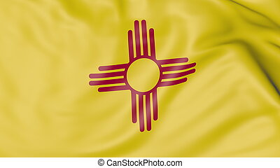 Waving flag of New Mexico state. 3D