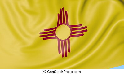 Waving flag of New Mexico state against blue sky. Seamless loop 4K clip