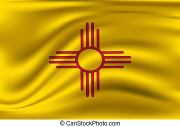 Waving Flag of New Mexico is a state of USA. illustration