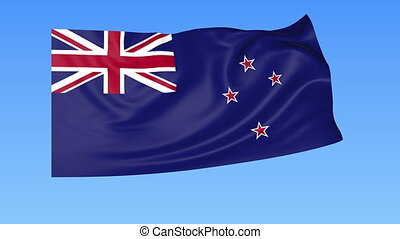 Waving flag of New Zealand, seamless loop. Exact size, blue background. Part of all countries set. 4K ProRes with alpha