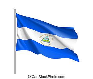 Waving flag of Nicaragua