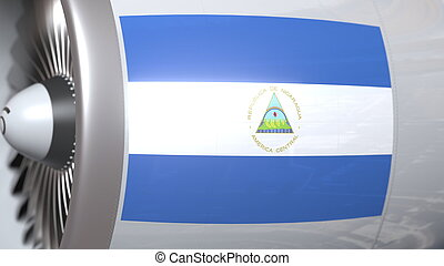 Waving flag of Nicaragua on airplane tourbine engine. Aviation related 3D rendering