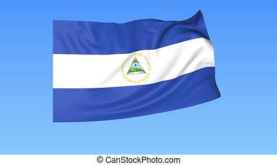 Waving flag of Nicaragua, seamless loop. Exact size, blue...
