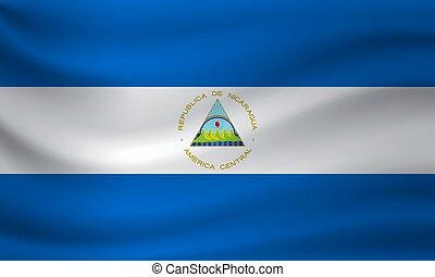 Waving flag of Nicaragua. Vector illustration