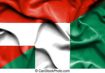 Waving flag of Nigeria and Austria