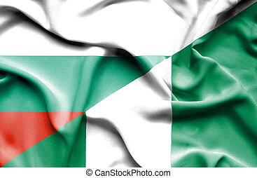 Waving flag of Nigeria and Bulgaria