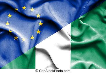 Waving flag of Nigeria and EU