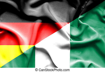 Waving flag of Nigeria and Germany