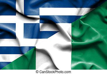 Waving flag of Nigeria and Greece